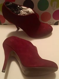 pair of red suede platform stilettos Fairfax, 22031