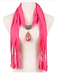 Pink Teardrop Big Crystal Pendent Pink Scarf Necklace with Silver Ball Tassels  Brampton, L7A 3M5