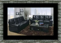 U6900 Black bonded sofa and loveseat Adelphi