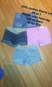 two blue and pink denim shorts London, N5V 2C3