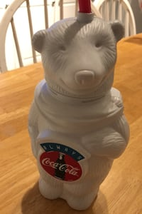 Coca Cola Polar Bear - Plastic Drink Bottle with straw 9""