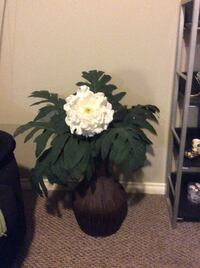 Bamboo floor vase with artificial palm leaves and flower  Surrey, V3S 2T8