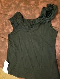 Black Top with Flower Design on Shoulder Top