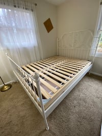 Queen Ikea metal bed w/ queen mattress wood base