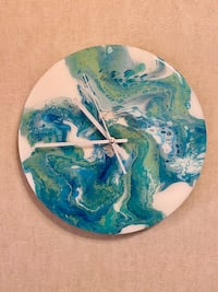 Hand Painted Wall Clock, new silent mechanism