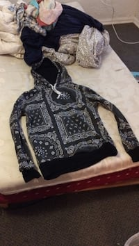 white and black floral pullover hoodee