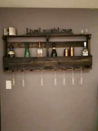 rustic wine or alcohol rack with wine glass holders London, N6C 5P2