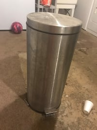 Cylindrical stainless steel pedal trash bin Edmonton, T5W 4R4