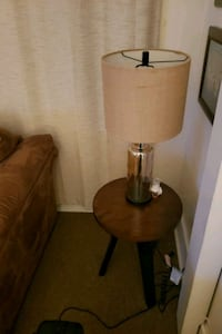 brown wooden table lamp with brown lampshade 319 mi