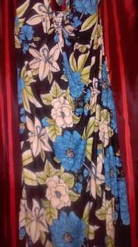 New black and multi-colored floral halter maxi dress CHEVYCHASE