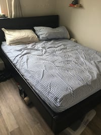 Black sexy queen leather bed sold for $280 Comes with Mattress! Vancouver, V6E 1G3