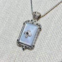 Antique Art Deco Sterlng Silver Mother of Pearl Pendant with Sterling Rope Chain Ashburn