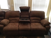 brown leather 2-seat recliner sofa 1201 mi