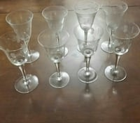 2 sets of 4ea antique etched/frosted wine glasses  Attleboro, 02703
