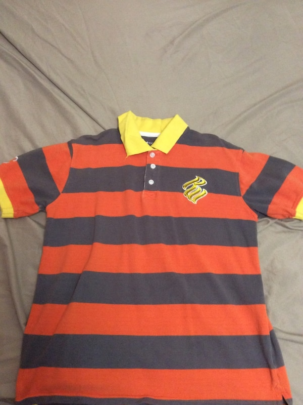 red and black striped polo shirt
