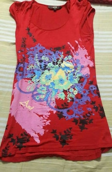 women's red, purple, pink, and beige floral sleeveless top
