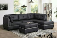 *Sienna Black Leather Sectional with Ottoman   Houston