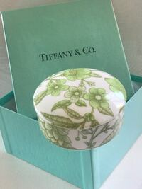 "Tiffany & Co porcelain jewelry box. Diameter 4"".H-2.5"" Burnaby, V5H 1Z9"