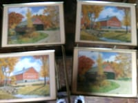 three assorted painting with brown wooden frames Dallas, 28034
