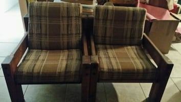two brown-and-white plaid fabric sofa block chairs $50.00 each.