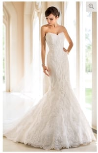 White strapless sweetheart bridal gown