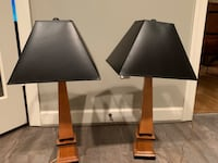 Pair of lamps. Black shade wood base  Leesburg, 20175