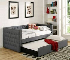 Brand New Gray Color Twin Size Daybed with Trundle