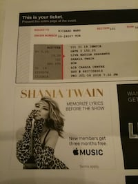 Shanua twain tickets at ACC July 6 Burlington, L7N 2Z7