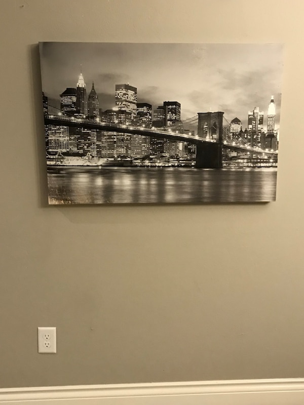 NYC black & white painting