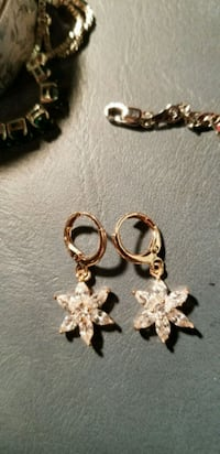 New gold filled earrings with white cz's.