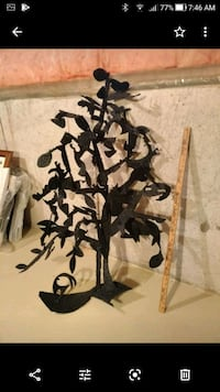 Iron abstract tree, wall sculpture