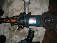 blue and silver angle grinder Leduc, T9E