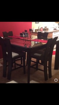 rectangular brown wooden table with six chairs dining set STAFFORD
