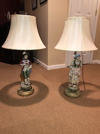 2 Antique Figurine Lamps With Brand New Shades Brick, 08724
