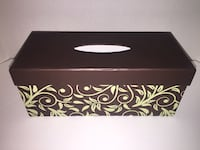 Decorative Kleenex Tissue Box Cover Brown and Green Forested Leaves Toronto, M5G