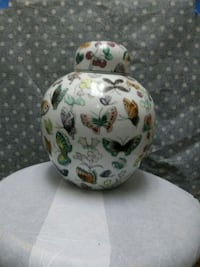 white, green, and red floral ceramic vase Alexandria, 22301