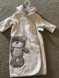 Brown hooded bath robe 0-9m Gray and white striped pjs 0-3m Shark one piece 9m White and blue striped 3m