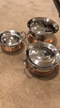 Indian-style stainless steel serving bowls/pots Springfield, 22152