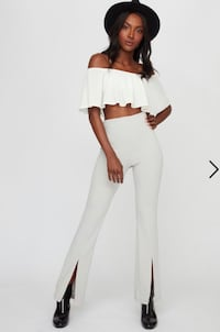 Light grey flare pants with front slit 478 km