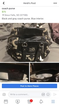 black leather Coach tote bag Sioux Falls, 57106