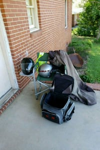 black and gray motor scooter pack and helmet  Macon, 31211