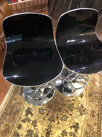 New2 black barstool see pictures low 23 high 31 asking $120 for both contact Richard  [TL_HIDDEN]   Toronto, M9V 4T5