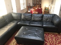 Black leather sectional sofa Chester, 23836