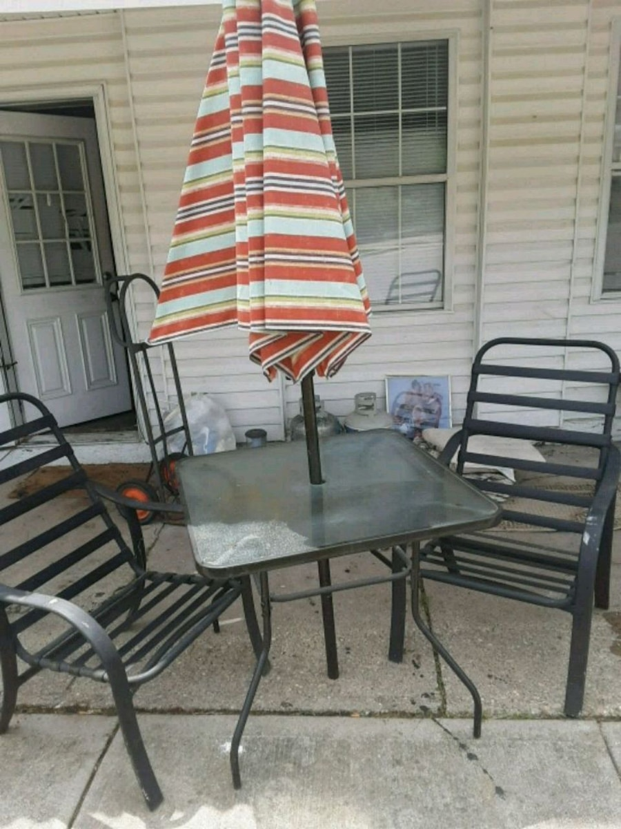 Used Rectangular Glass Top Table With Four Chairs Dining Set For Sale In  Hamilton   Letgo
