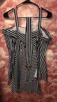 Black and white stripe button-up dress 538 mi