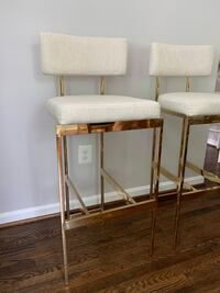 Two bar chairs cream linen and brushed gold frame Alexandria, 22308