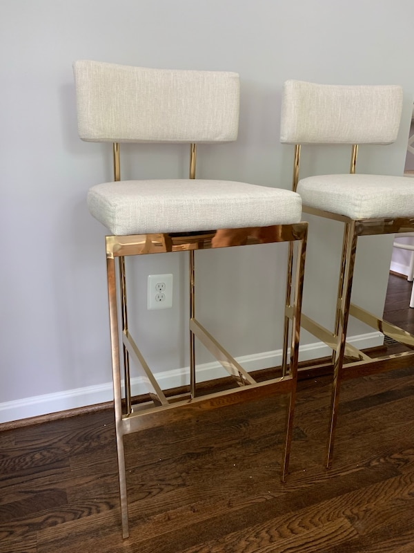 Two bar chairs cream linen and brushed gold frame