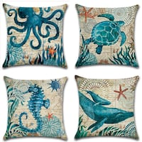 Mediterranean Style Throw Pillow Case Sea Theme Decorative Square Cotton Linen Cushion Cover for 18 X 18 Inch Pillow Inserts,4 pack! San Diego, 92122
