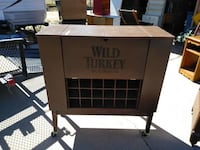 Wild Turkey Rolling Bar Has Room for Glasses Wine and Opens up $75.00 Modesto