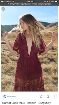 Size l burgundy cody and sioux romper dress